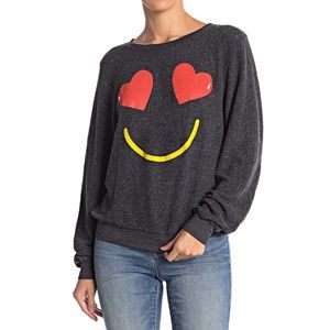 WIldfox Smiling Hearts Face Sweater Sz XS FF12